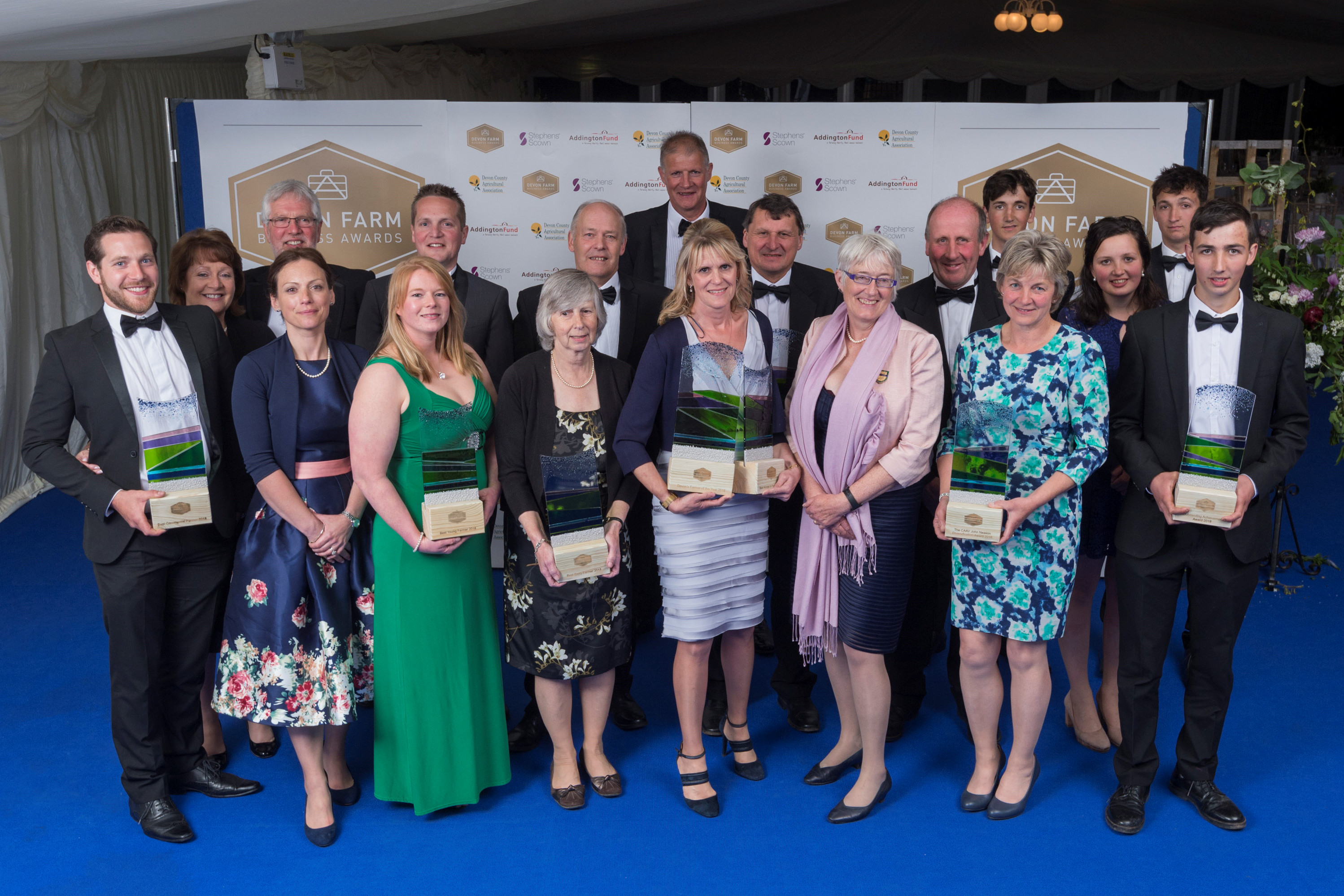 Winners of the 2018 Devon Farm Business Awards, with overall winner Jacqui Lanning pictured centre with her 2 awards. Photos: Anne Ashford