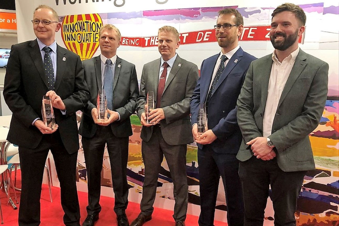 From left: Andrew Gibson, Mark Spelman, Stuart Spelman, Ben Burnett and Tom Proctor at the Cobb Champion Award presentation to PD Hook. Awards were presented to the company at the British Pig and Poultry Fair last month. Photo: Cobb UK