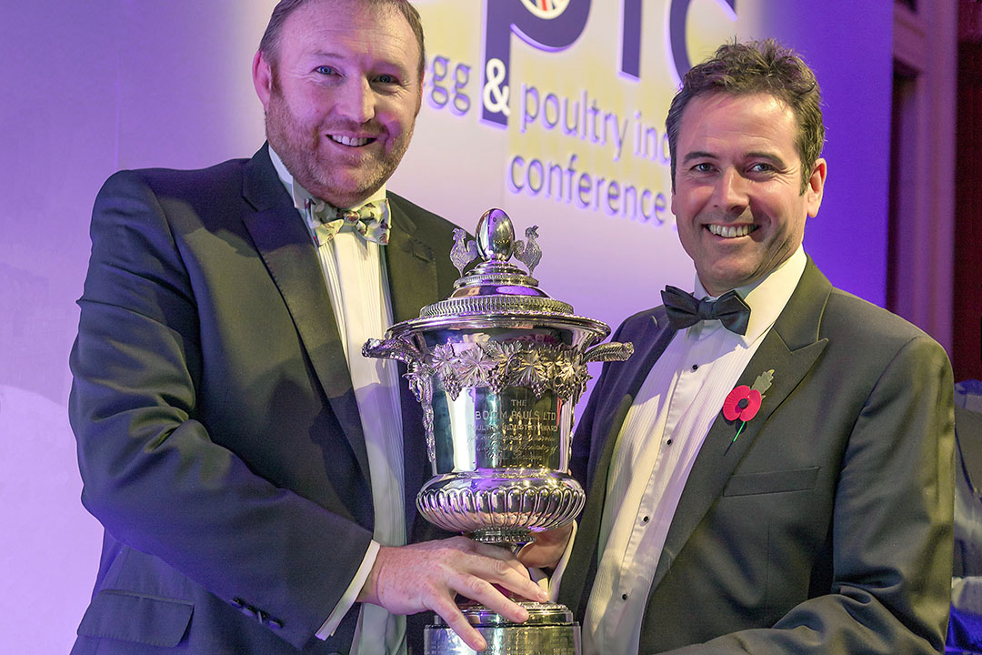 For Farmers Andrew Burley (left) presents Poultry Person of the Year to Gressingham Foods' Geoffrey Bucchanan. Photo: Richard Stanton
