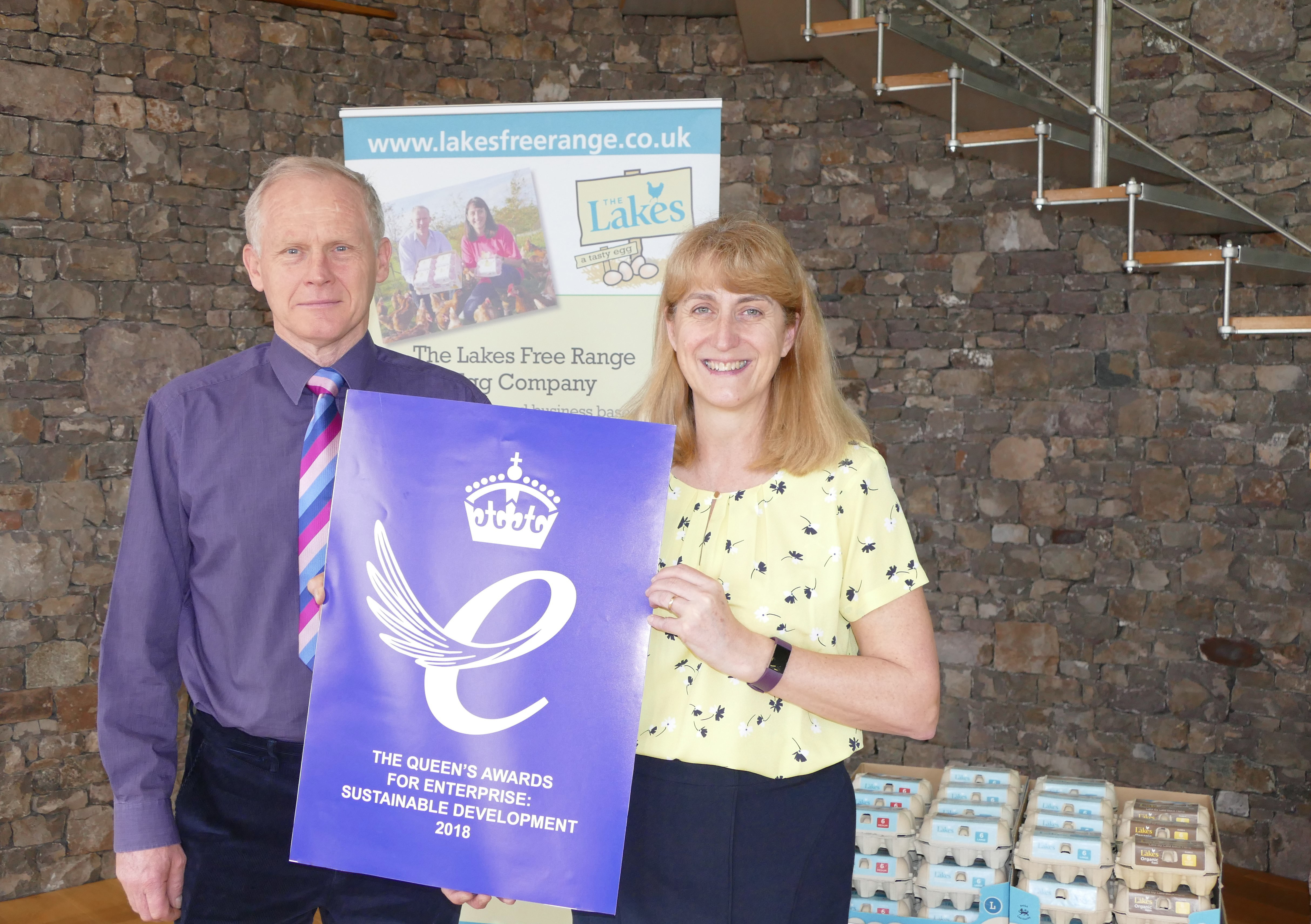 David and Helen Brass with the Queens Award for Enterprise. Photo: The Lakes