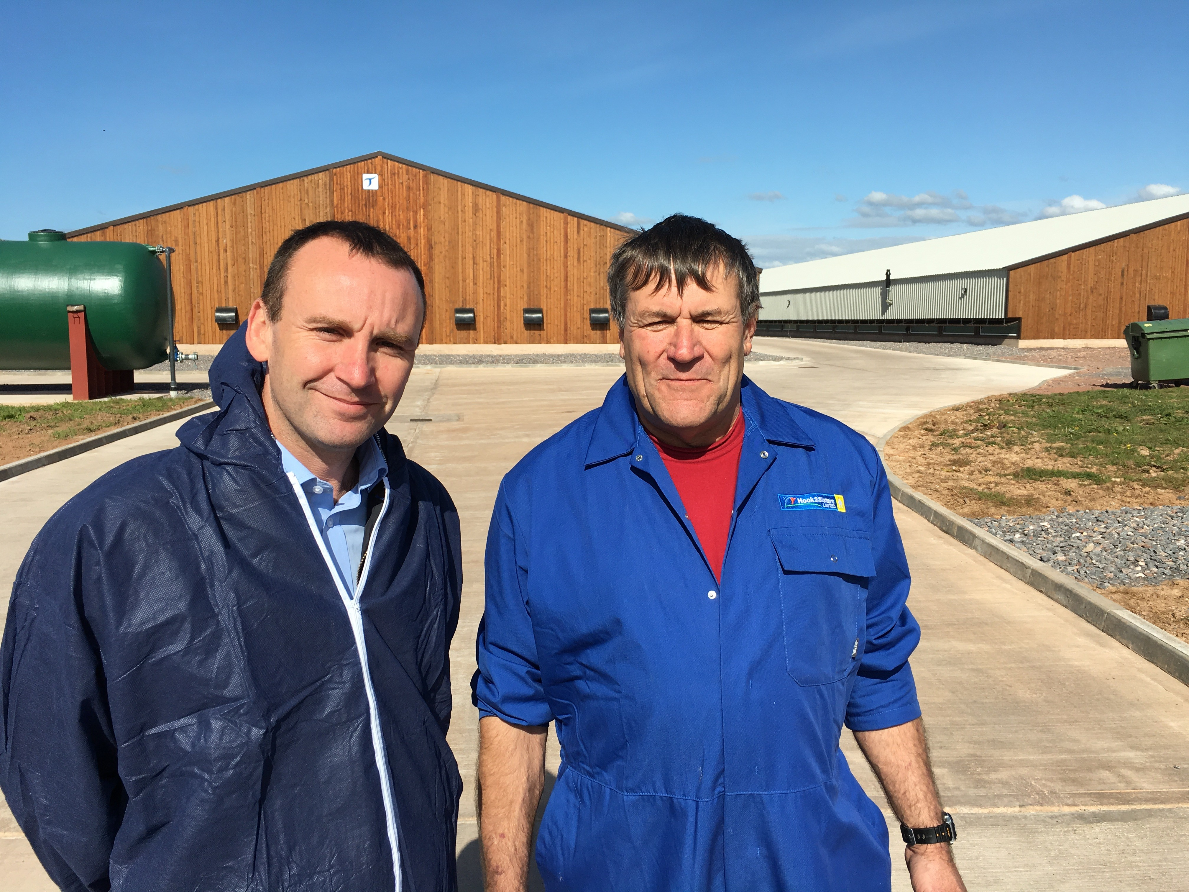 2 Sisters general manager for the south west, with Swanhams farm manager Victor Pratt.