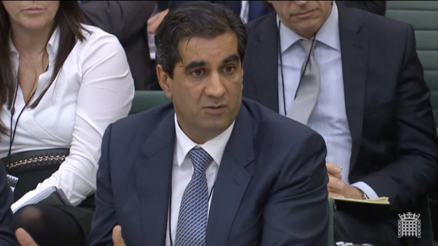 Ranjit Singh appearing in front of the Environment, Food and Rural Affairs select committee. Photo: parliament tv