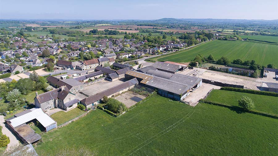 Aerial view of Church Farm and land