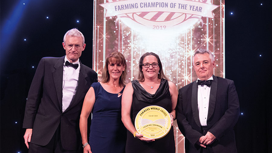 Zanna Joice accepts the 2019 Farming Champion Award on behalf of her late husband Patrick