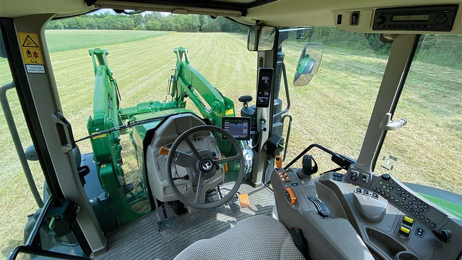 Cab of John Deere 6120M tractor