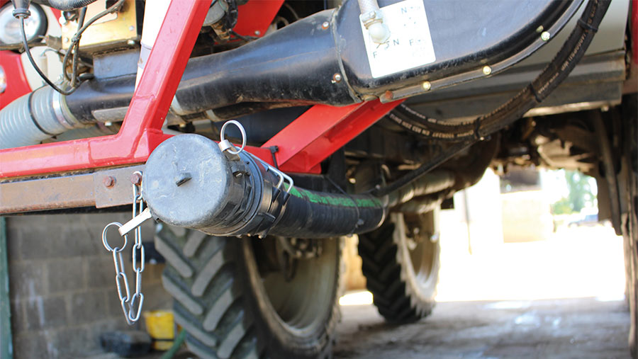 Hose extension on sprayer