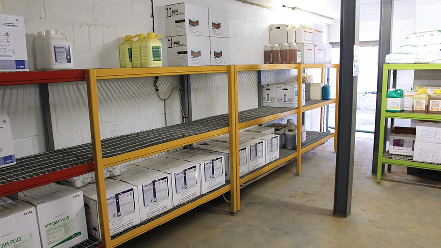 Colour-coded chemical store