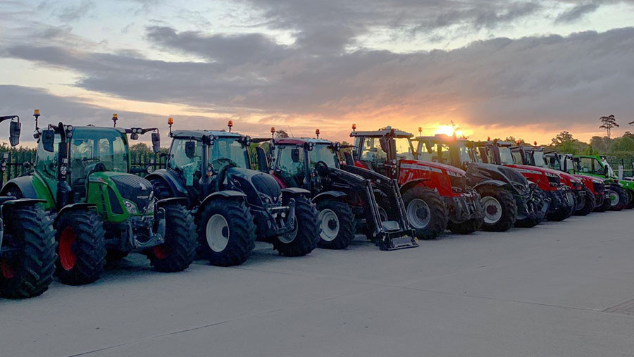 Row of tractors for sale