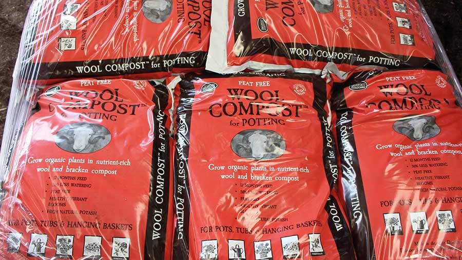 Bags of bracken compost