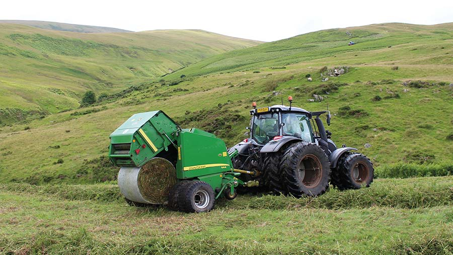 Tractor baling bracken