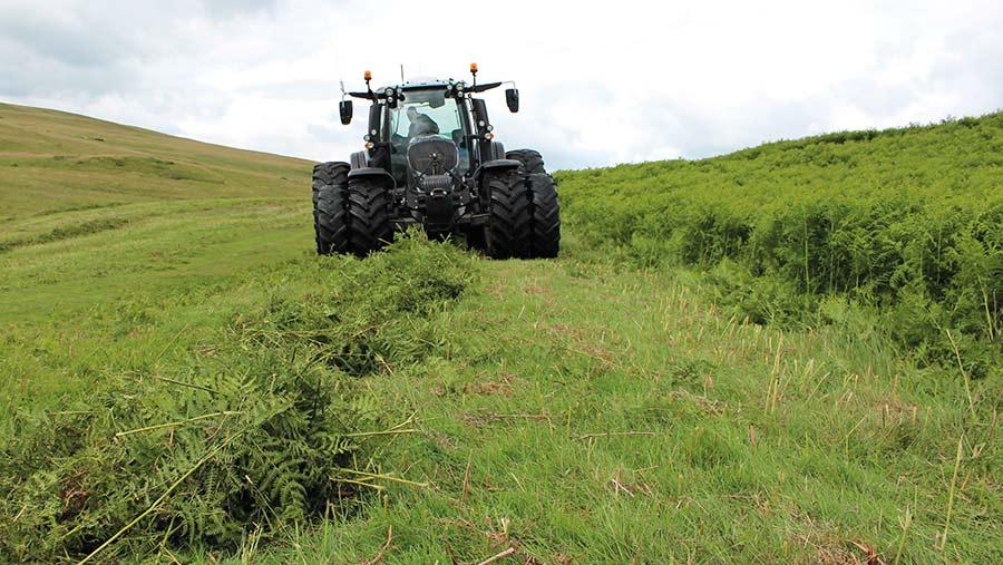 Tractor harvesting bracken