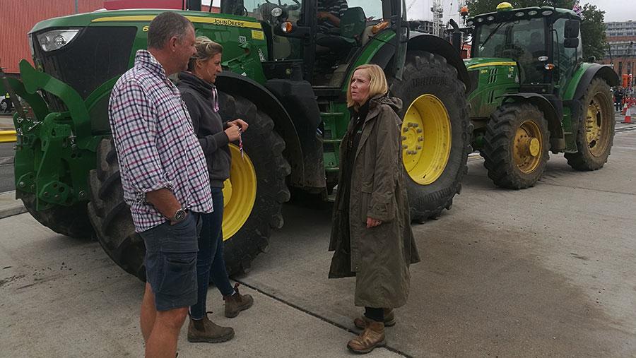 Liz Webster talks to farmers