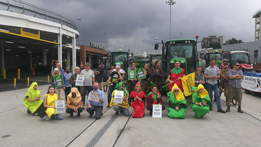 Save British Farming protestors assembled at New Covent Garden Market