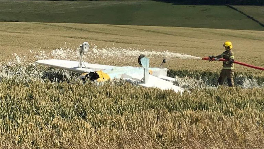 The plane crashed in a field of wheat in Wiltshire © Dorset Fire and Rescue Service