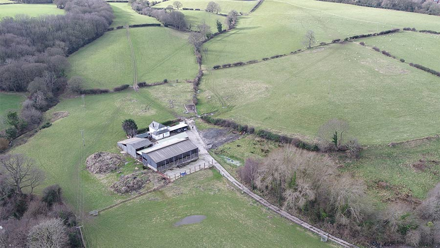 Aerial view of Crescent Farm and land