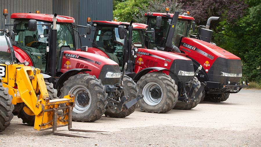 A Case-IH trio (and the front end of the JCB) at the Banks sale © Tim Scrivener
