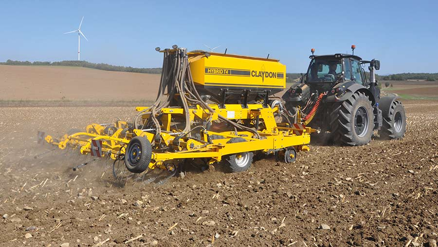 Claydon Hybrid drill working in south of England