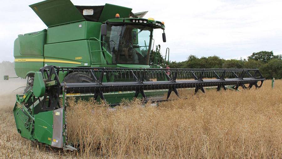 Combine during harvest