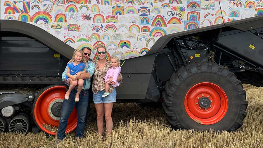 Rainbow-clad combine harvests crops to support NHS heroes