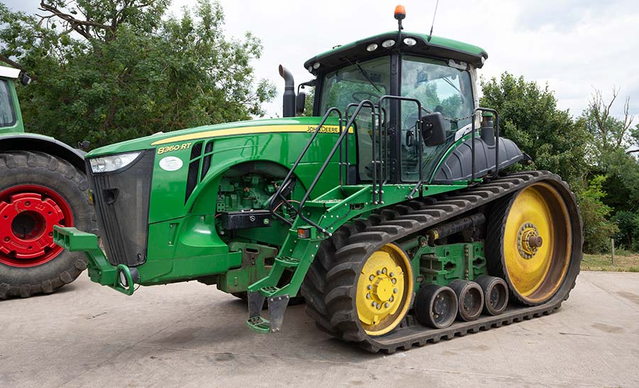 Tracked tractor in yard