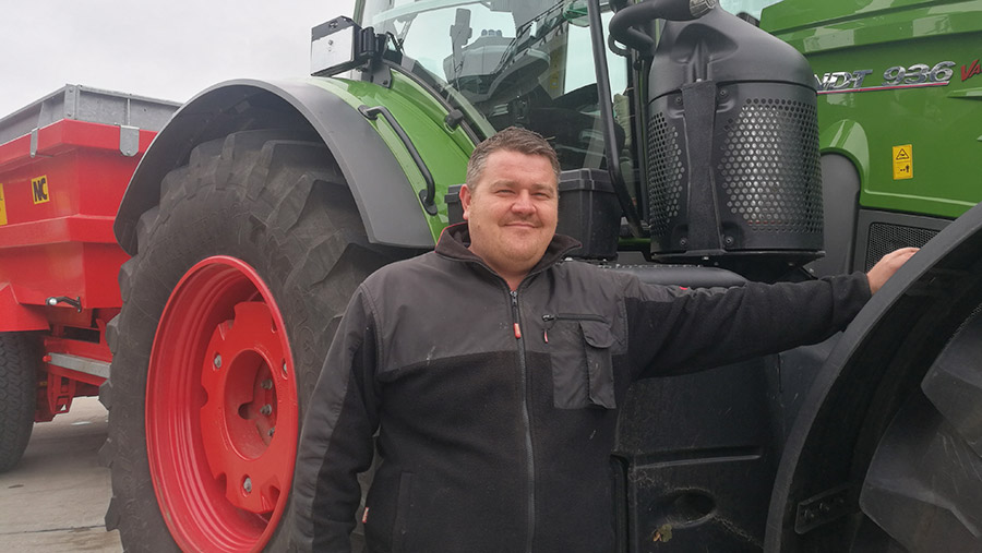Mark Miles in front of tractor at food standards demo in London