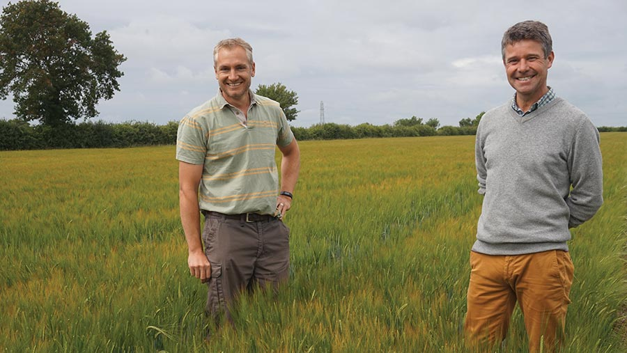 Farmer Tom Jewers (left) and Hutchinsons agronomist Mike Greener