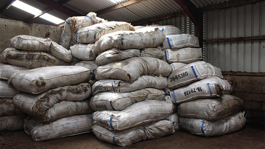 Bags of wool in shed