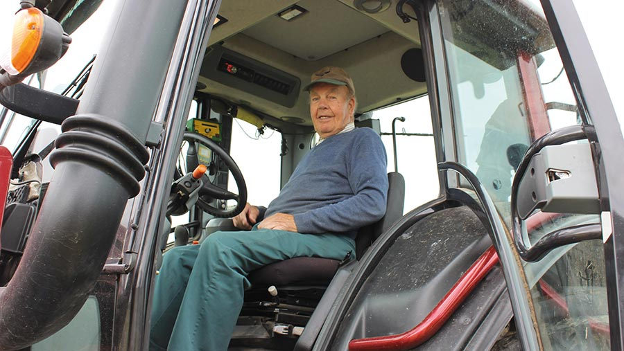 Meirion Hughes in tractor