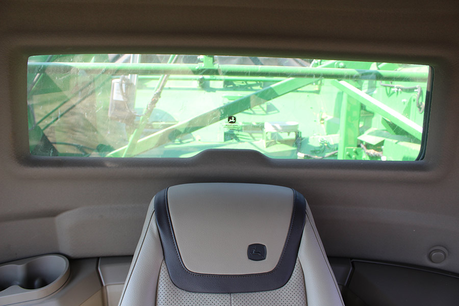 View of grain window in cab