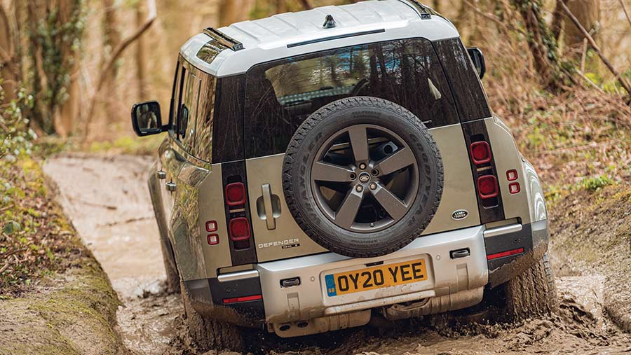 Back view of Land Rover Defender