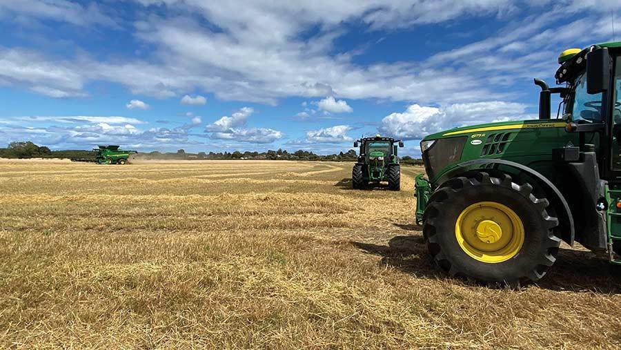 harvest machinery in field