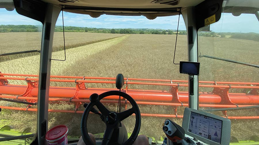 View from combine cab