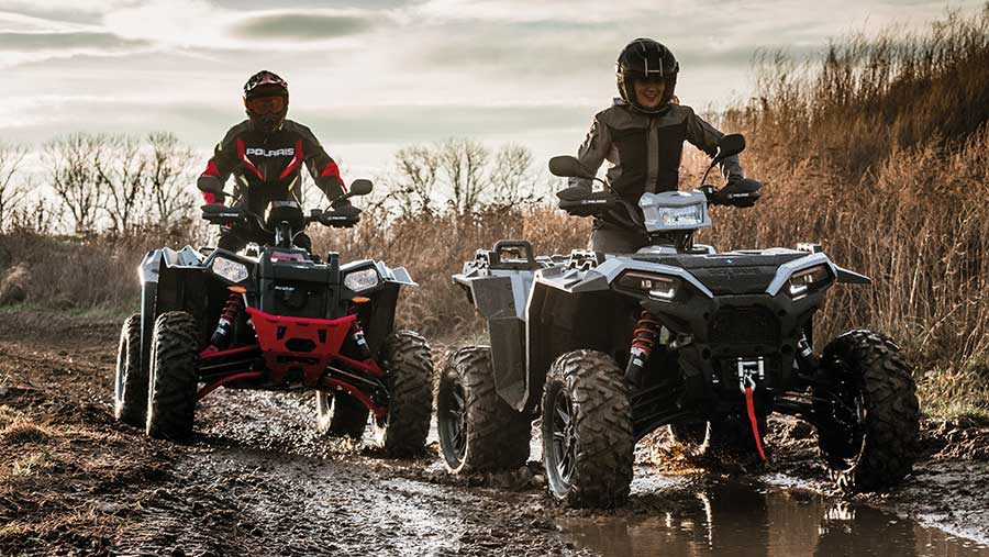The Polaris Scrambler XP 1000 (left) and Sportsman XP 1000 get improved stability with wider track widths