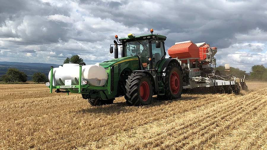 Tractor and drill in field