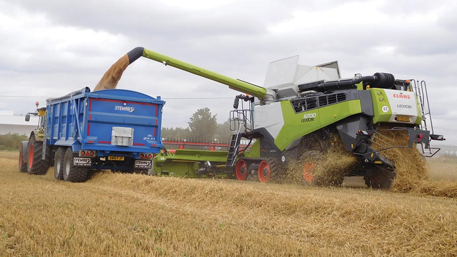 Claas Lexion 6700 is available on wheels or tracks with a choice of 30kph or 40kph travel speeds © Claas