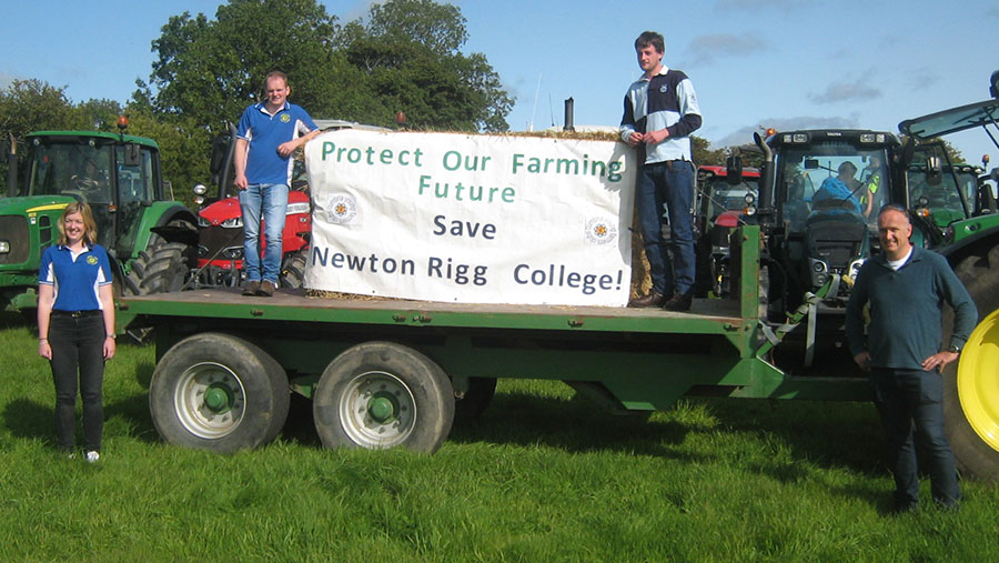 Cumbria YFC's Jess Rogerson, Neil Curr, and William Longmire, with Dr Neil Hudson at the tractor run