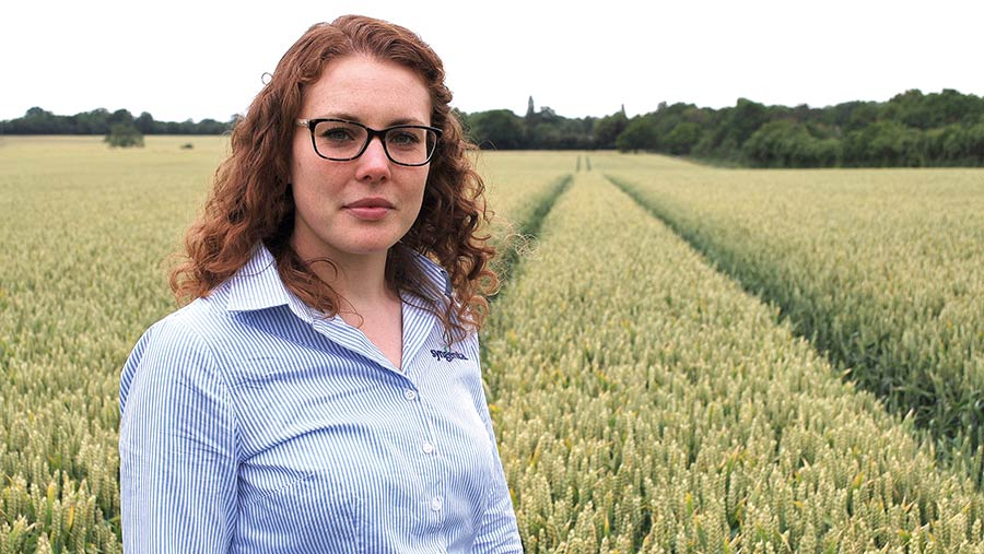 Georgina Wood in cereal crop