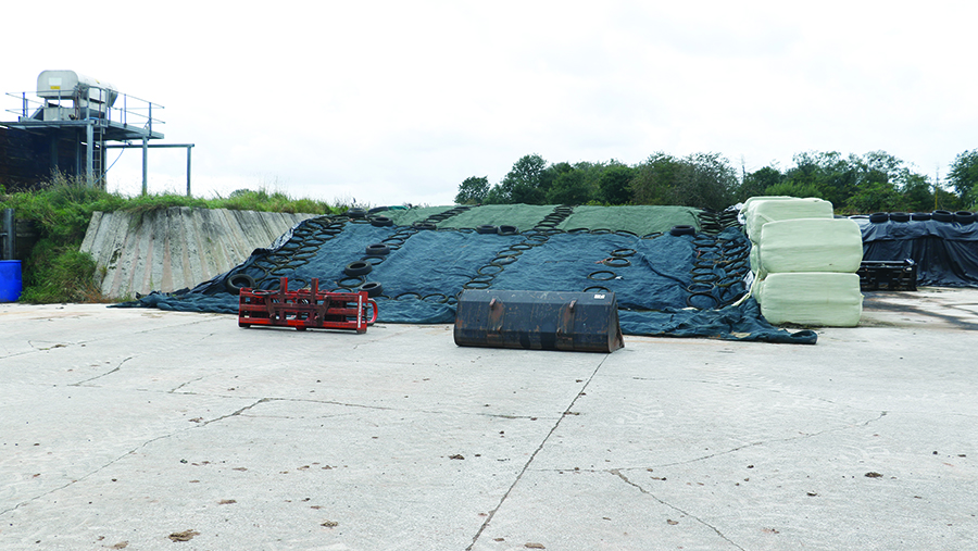 Grass silage has been ensiled in the earth bank clamp