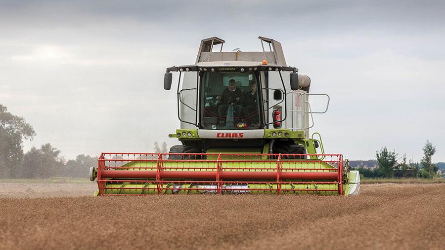Combine harvesting linseed
