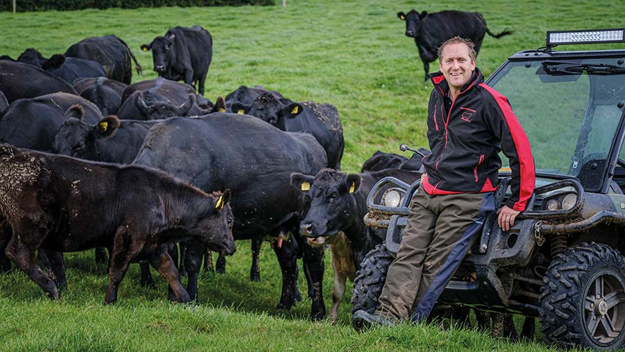 Ian Norbury in field with cows
