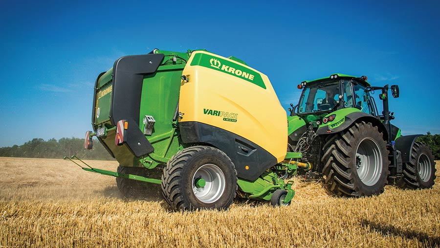 Krone's latest variable round balers have bale-forming by rollers and belts and a feed rotor with integrated auger flights © Krone