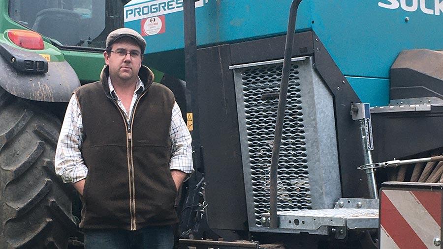 Martyn Cockerill next to his Sulky Progress drill