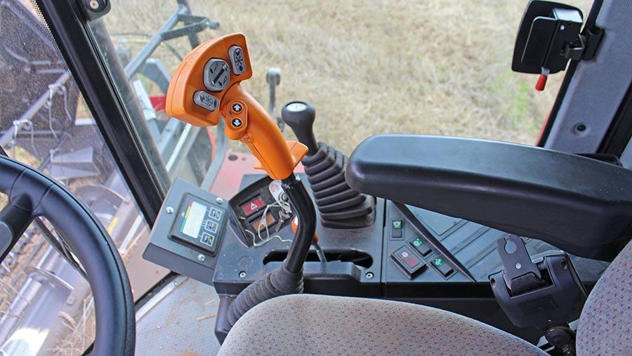 Controls inside combine's cab