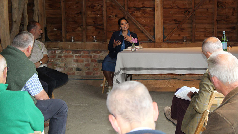 Priti Patel and Essex farmers during the Q&A session
