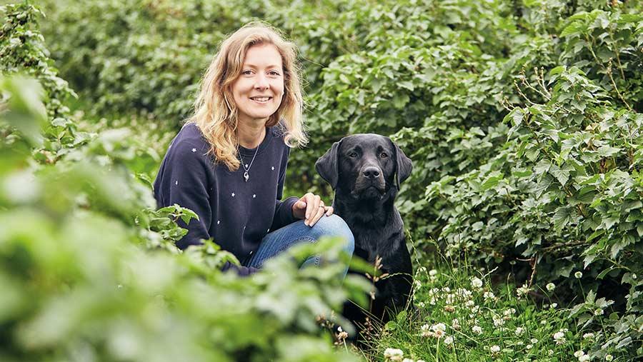 Rosie Begg in blackcurrant hedges