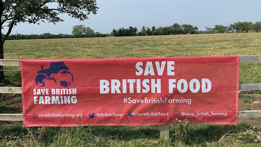 Save British Food sign on farm fence