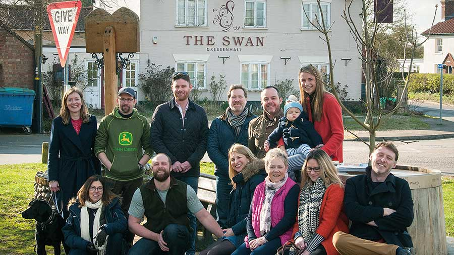 Some of the campaigners outside the pub