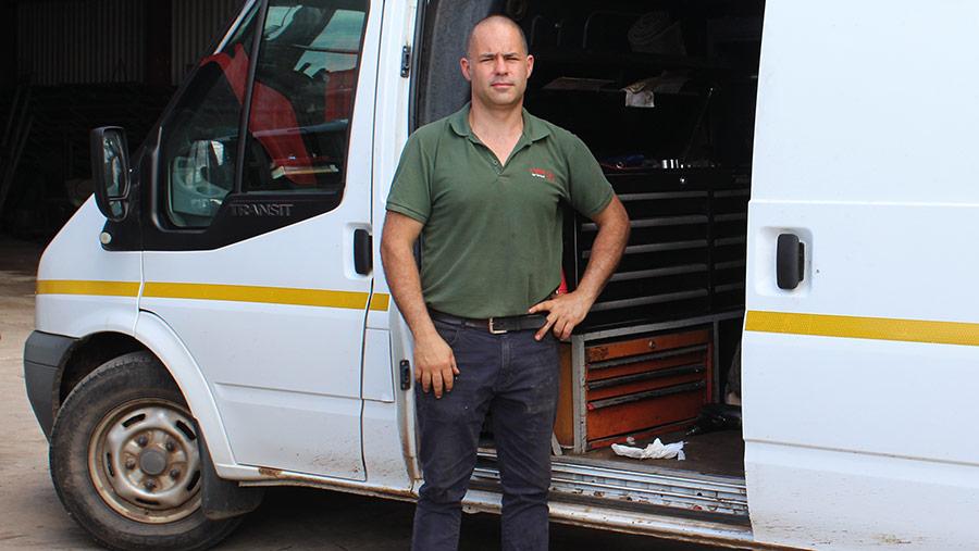 Steve Hodges next to his van