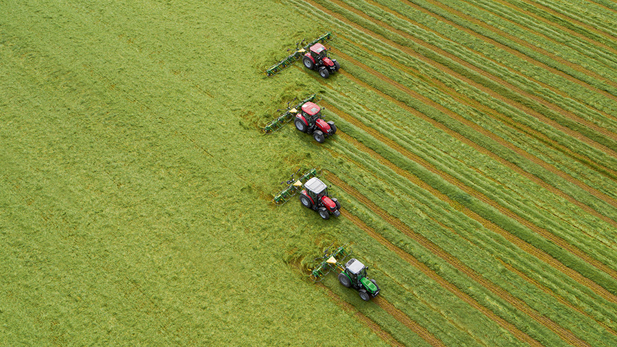 Row of Vendro tedders from above
