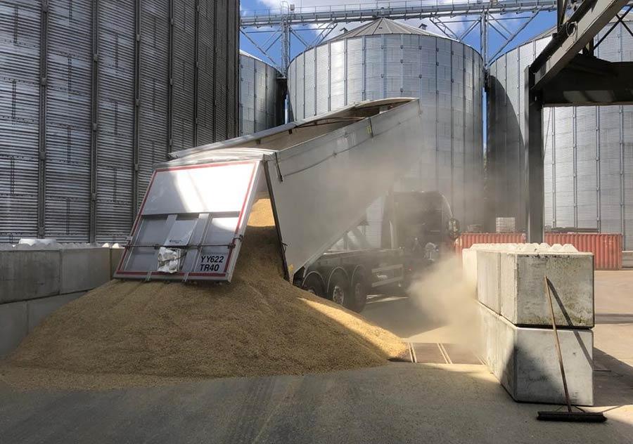 Lorry unloading grain